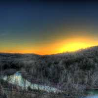 Bright Sunset Behind the Hill at Meramec State Park, Missouri