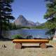 Bench viewing the wilderness landscape at Glacier National Park, Montana