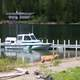Boat at the dock at Goat Haunt, Glacier National Park, Montana