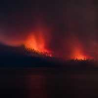 Forest Fire Across Lake McDonald
