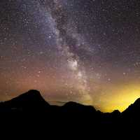 Milky way above the mountains at Glacier National Park, Montana