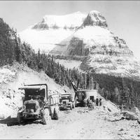 Road construction on going to the sun road in Glacier National Park, Montana