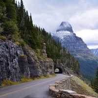 Roadway through the Mountains at Glacier National Park, Montana
