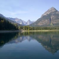 Scenic landscape with mountains and lake at Goat Haunt Station in Glacier National Park