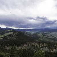 Hills landscape under heavy clouds in Helena