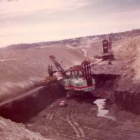 Open pit strip mining in Colstrip, Montana