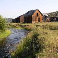 Homestead next to a creek landscape