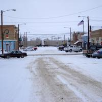 Logan Avenue in Downtown Terry during a snow day, Montana