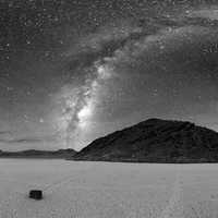360 degree astrophotography view of Racetrack Playa at Death Valley National Park, Nevada