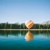 Hot Air Balloon touching down on Lake Tahoe