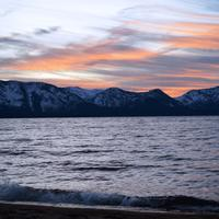 Lake Tahoe Landscape at Down with Mountains