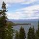 Landscape through the pine trees at Lake Tahoe in Emerald Bay