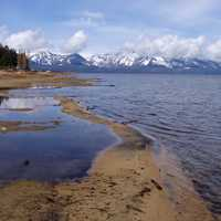 Scenic lakeshore landscape with mountains in Lake Tahoe