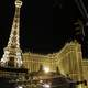 Hotel Paris Lighted Up at Night in Las Vegas, Nevada