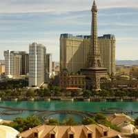 Las Vegas City View with Paris Hotel in front in Nevada
