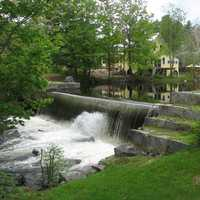A small dam in the village of Chocorua in Tamworth, New Hampshire