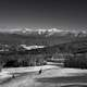 Black and White Winter landscape with mountains in New Hampshire