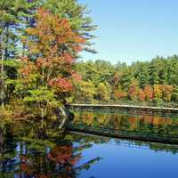 Bridge and pond landscape in New Hampshire