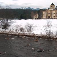 Landscape of the river and winter in Franconia, New Hampshire