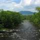 Mount Ascutney Landscape with clouds and River in Claremont, New Hampshire