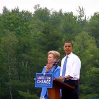 Obama and Clinton doing a rally in Unity, New Hampshire