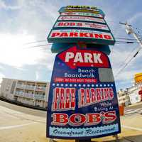 Fisheye photo Parking Lot Sign in City in Atlantic City, New Jersey