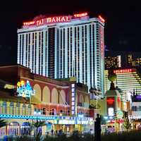 Night towers in streets of Atlantic City, New Jersey