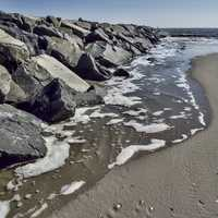 Rocks on the coast in Atlantic City, New Jersey