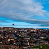 Hot Air Balloon above the cityscape of Albuquerque, New Mexico