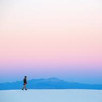 Person walking on the white sands landscape, New Mexico, Landscape