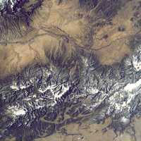Astronaut view of the area of Santa Fe, New Mexico