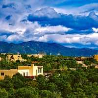 Landscape with houses with lots of clouds in Santa Fe, Clouds