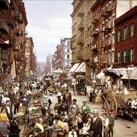 Little Italy in Manhattan, New York around 1900.