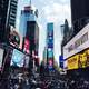 People, buildings, and busy life in Times Square in New York City