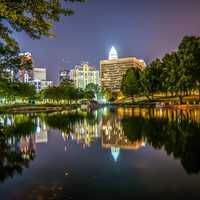 Across the lake looking at Charlotte at night in North Carolina