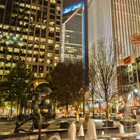 Downtown Charlotte at night in North Carolina