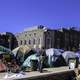 Cameron Indoor Stadium with student tents at Duke University, North Carolina