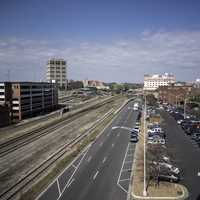 Large Street and cars in Durham, North Carolina