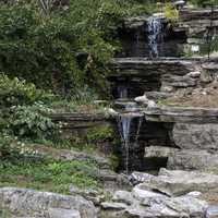 Small Waterfalls in Duke Gardens in Durham, North Carolina