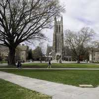 View of the Duke Chapel and the quad in Durham, North Carolina