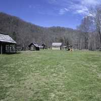 Log Cabin on grass lawn at Great Smoky Mountains National Park, North Carolina