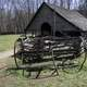 Log House with cart in front at Great Smoky Mountains National Park, North Carolina