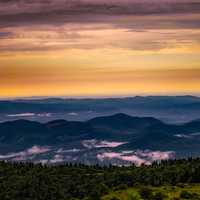 Sunrise and Daybreak over the Hills in North Carolina