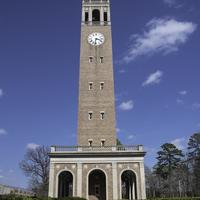 Clock Tower among hedges in University of North Carolina, Chapel Hill