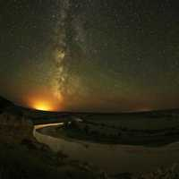 Milky Way Galaxy with Stars and night landscape