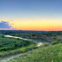 Dusk over the river valley at Theodore Roosevelt National Park, North Dakota