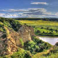 Landscape across the river at Theodore Roosevelt National Park, North Dakota