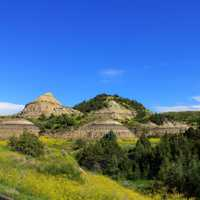 Landscape with round hill like structures at Theodore Roosevelt National Park, North Dakota