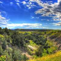 Looking at the valley below at Theodore Roosevelt National Park, North Dakota