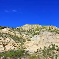 Looking up at rocks and hills at Theodore Roosevelt National Park, North Dakota